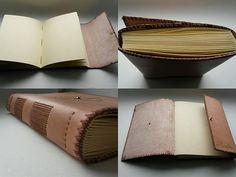 Kožený zápisník - originálny denník, hladenica, ručná práca / handmade book / bookbinding / long stitch / leather journal / notebook / diary