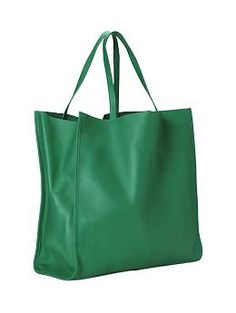 green leather tote