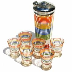 Vtg Striped Cocktail Shaker w 6 Shooters Hazel Atlas Bar Barware Set | eBay