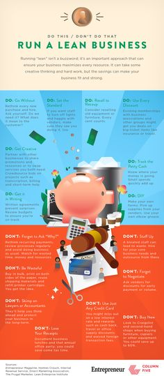 To Run Lean, Think Lean - Entrepreneur.com  Just love this infographic! Call it lean, call it frugal, call it green, call it what you will. The baseline is that smart businesses can effectively run lean by the many Do's & Don't's in this infographic. Go without .. check! Don't be wasteful .. check!   Have a read and then share your lean business practices :)