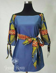 African clothing patchwork chambray denim off shoulder top free Ankara denim blouse African Blouses, African Tops, African Wear, African Attire, African Dress, African Fashion Designers, Latest African Fashion Dresses, African Print Fashion, Africa Fashion