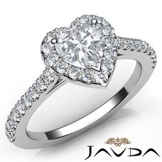 Heart Diamond Engagement Shared Prong Set Ring GIA G VS2 18k White Gold 1.0Ct in Jewelry & Watches, Engagement & Wedding, Engagement Rings | eBay