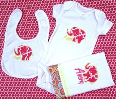 Baby gift set personalized chicago bears football theme navy and personalized baby bib burp cloth jumper set girl pink elephant negle Choice Image