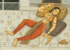 The dream of Zulaykha, detail, Yusuf and Zulaykha (Haft Awrang) by Jami (? 1670 Mughal, from the Amber Album. Mughal Paintings, Indian Paintings, Ravivarma Paintings, Rajasthani Painting, Japanese Drawings, Cleveland Museum Of Art, India Art, Art Corner, Classic Paintings