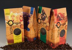 Colorful coffee packaging.