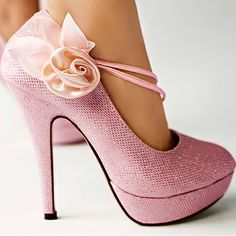 Kvoll Sweet Closed Toe Mary Jane Stiletto Heels with Flower Pink