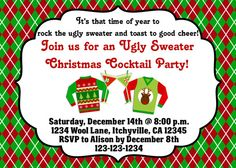 Ugly Sweater Christmas Cocktail Party Invitation by vmiddleton5, $8.00