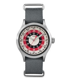Based on a bullseye design discovered inthe Timex archives, our fresh take blends mod style with state of the art functionality. Crafted with a vintage-inspired dial and military nylon strap, this versatile timepiece can dress down an office look or elevate your weekend wear in a split second. - Very Limited Quantity- Exclusive to Todd Snyder- 40mm face- 50 Meter Water Resistance- Quartz Movement