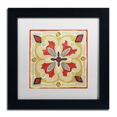 """Trademark Art 'Bohemian Rooster Tile Square III' by Daphne Brissonnet Framed Painting Print Size: 11"""" H x 11"""" W, Matte Color: White"""