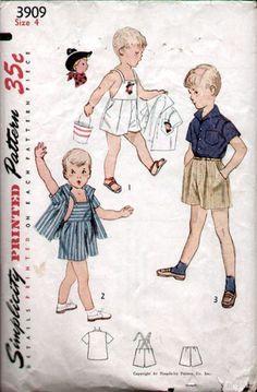 Simplicity 3909 Vtg 50's Boys Tot Playsuit Pants Shirt Pattern Sz4