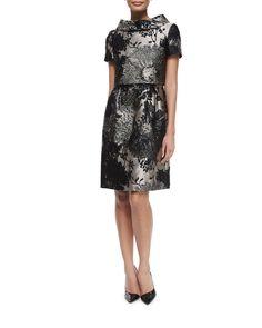 Short-Sleeve Funnel-Neck Metallic Dress, Black, Women's, Size: 10/40 - Escada