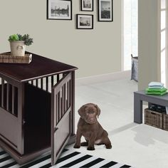 Features:  -Doubles as a night stand or end table.  -Furniture dog crate provides a cozy, private spot for your dog to sleep and relax.  -Beautiful design doubles as a fine piece of furniture.  -Const