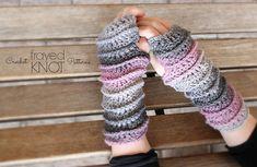 Ridgeline Fingerless Gloves~ #crochet pattern by Frayed Knot. #handmade