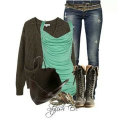 Winter Casual outfit: olive and mint. I want these boots bad! :)
