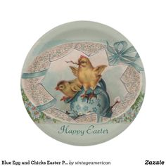 Blue Egg and Chicks Easter Paper Plates