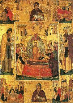 Успение Пресвятой Богородицы. Икона с клеймами. Византия; XV век