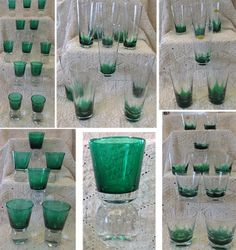 Carl Erickson Emerald Green 44 Pc Flame & Controlled Bubble Glass Set.  Asking $2,495