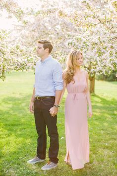 Blithewold Engagement Photos by Rebecca Arthurs under the cherry blossom trees