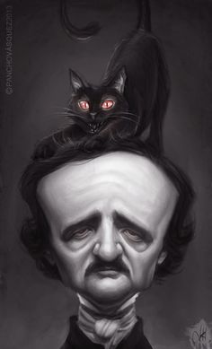 Edgar Allan Poe Combined with 'The Black Cat' Edgar Allan Poe, Funny Caricatures, Celebrity Caricatures, Creative Illustration, Illustration Art, Poe Quotes, Allen Poe, Baltimore, Gothic Art