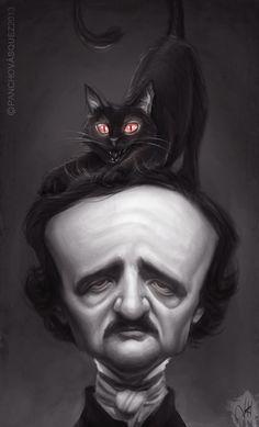 """Aquí Pancho Vásquez, rinde homenaje a """"Black Cat"""" uno de los mejores cuentos siniestros del mundo, por Poe, obviamente.–15 Ilustraciones tributo al romántico más oscuro: Edgar Allan Poe"""