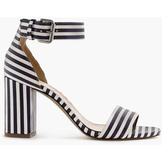 J.Crew Striped Strappy High-Heel Sandals ($320) ❤ liked on Polyvore featuring shoes, sandals, heels, striped shoes, strap heel sandals, high heel sandals, strappy sandals and j.crew sandals