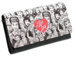 Perfect for any Lucy Fan! This adorable fashion wallet features slots for 10 credit cards, clear ID window, flat currency compartments, a built-in checkbook cover, a zippered pocket on the back, and a magnetic security snap. Store all your essential items in this photo montage tribute to Lucille Ball. Great gift idea! Measures: 7.25L x 4H x 1W Approx.