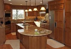 Kitchen:Beautiful Kitchen Design Idea Contemporary Kitchen Design Ideas With Pendant Lamp Also Recessed Light In White Ceiling Also Wooden Laminating Flooring Also Panel Appliances Also Granite Countertop Also Sink