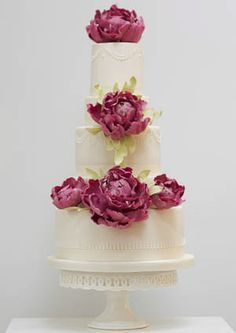 pink peonies wedding cake