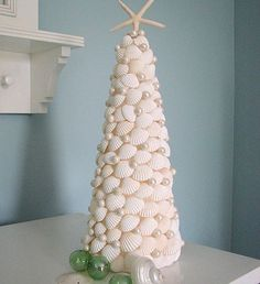 Seashell Christmas Tree made of White Shells by beachgrasscottage