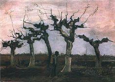 Ван Гог. Пейзаж с подстриженными ивами  Нюэнен, апрель 1884 Холст, масло.  Частное собрание