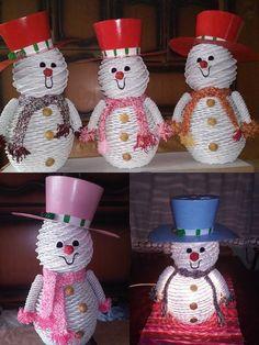 Xmas, Christmas Ornaments, Gourds, Holidays And Events, Handmade Christmas, Basket Weaving, Snowman, Origami, Baskets