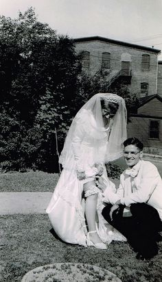 Bride and groom, ca. 1940s.