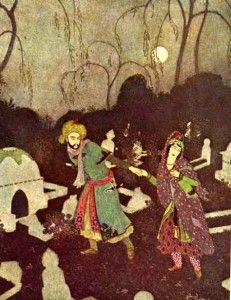 """The Prince leads the Lady to the Tomb. """"The Story of the Three Calenders"""" from """"Sindbad the Sailor and other Stories from The Arabian Nights"""" illustrated by Edmund Dulac Edmund Dulac, Children's Book Illustration, Botanical Illustration, Chinese Painting, Chinese Art, Sinbad The Sailor, Arabian Nights, Linocut Prints, Art Studies"""