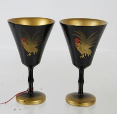Vintage Russian Folk Art Black Gold Lacquer Wood Carved Hand Painted Shot Glass
