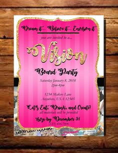Invitation For Vision Board Party Motivational Pinterest