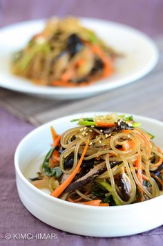 Korean Glass Noodles Japchae with shitake and wood ear mushrooms. One-pan recipe in under 20 minutes as long as you soak the noodles in advance. So simple and delicious! Vegan and Gluten Free.