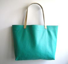 Handmade Leather Tote Bag - LOU Market Tote in Turquoise Blue with Cream Colored Handles. From LouCollection on Etsy.