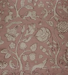 ~ Beaufort linen fabric ; print taken from Elizabethan embroideries depicting animals and insects in a forest ; dirty rose pink on natural