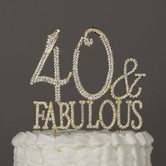 40 & Fabulous Gold Rhinestone Cake Topper - 50th Birthday Decoration This…