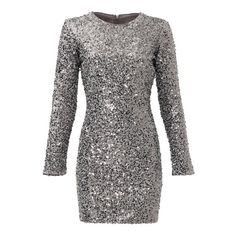 Rental Slate & Willow Silver Aileen Dress ($50) ❤ liked on Polyvore featuring dresses, silver shift dress, sequin dress, slate & willow dress, silver sequin dress and longsleeve dress