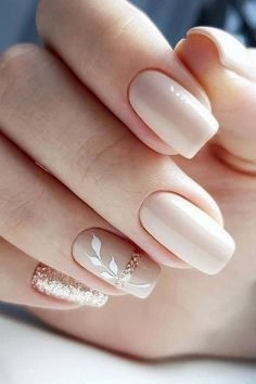30 Cute Nail Design Ideas For Stylish Brides ❤ nail design wedding nude beige with white leaves and glitter gira.nails nageldesign hochzeit 30 Cute Nail Design Ideas For Stylish Brides Square Nail Designs, Fall Nail Art Designs, Pink Nail Designs, Neutral Nail Designs, Elegant Nail Designs, Nail Designs For Summer, Simple Nail Design, Nail Art Ideas For Summer, Anchor Nail Designs