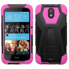 Insten Hard PC/ Silicone Dual Layer Hybrid Case Cover with Stand For HTC Desire 526 #2162520