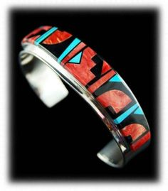 Native American Silver Inlaid Bracelet - Native American Silver Jewelry