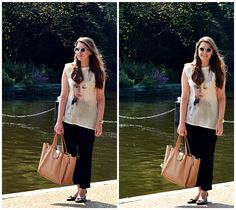 Hyde Park- Zara Blouse, F&F trousers, Topshop sunglasses
