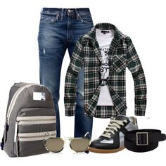 """Great casual bts outfit or guys and girls can take a spin off with a tshirt+flannel with colored shorts and high tops with a watch and maybe hipster glasses and messy bun or braid to make it """"my boyfriends flannel I'm lazy but still cute"""" type of look"""