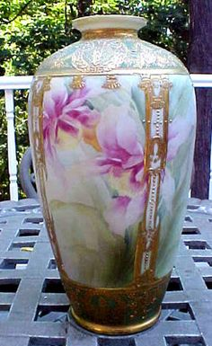 "Gorgeous Hand Painted Nippon Floral and Gold Vase 12"" Tall 