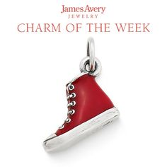 The vibrant red Enamel High Top Charm celebrates a shoe that makes our feet happy. #jamesavery #charmoftheweek