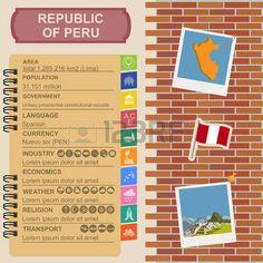 Infografía Perú, datos estadísticos, de las vistas. Ilustración vectorial