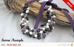 Sale -  Handmade Weddings Eggplant Pearl Necklace with Amethyst and Pink Quartz