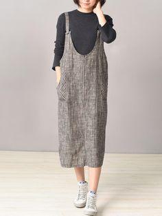 Only US$21.99 shop stripe strap pocket back split dress at Banggood.com. Buy fashion casual dresses online. - Banggood Mobile